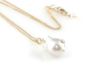 'Pearl Wonder' - White baroque south sea pearl pendant with gold chain