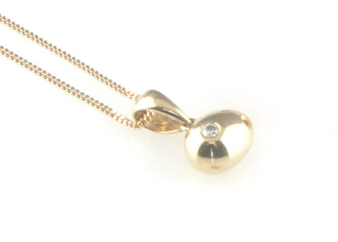 'Best Before' - 0.8cm 18ct yellow gold egg pendant with diamond