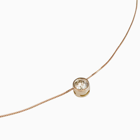'Gem Amour' - Rose gold chain with movable brown diamond