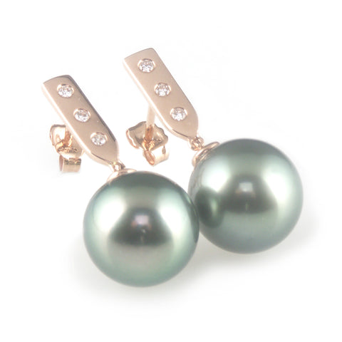 'Pearl Wonder' - rose gold bar earrings with black/peacock tahitian pearls and diamonds