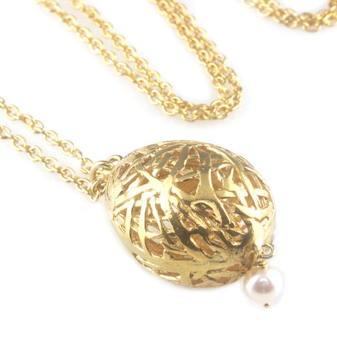 'Best Before' - 3cm gold plated silver whole egg pendant with pearl