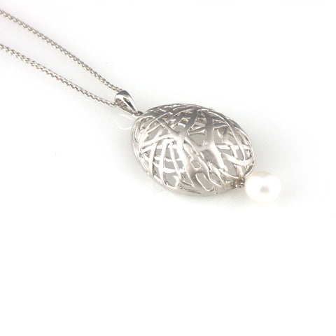 'Best Before' - 3cm silver egg necklace with pearls