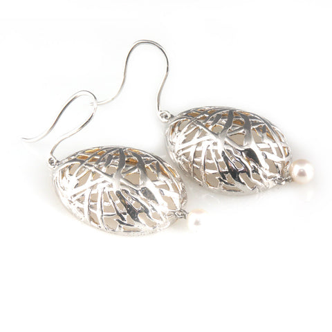'Best Before' - 3cm silver egg earrings with pearls