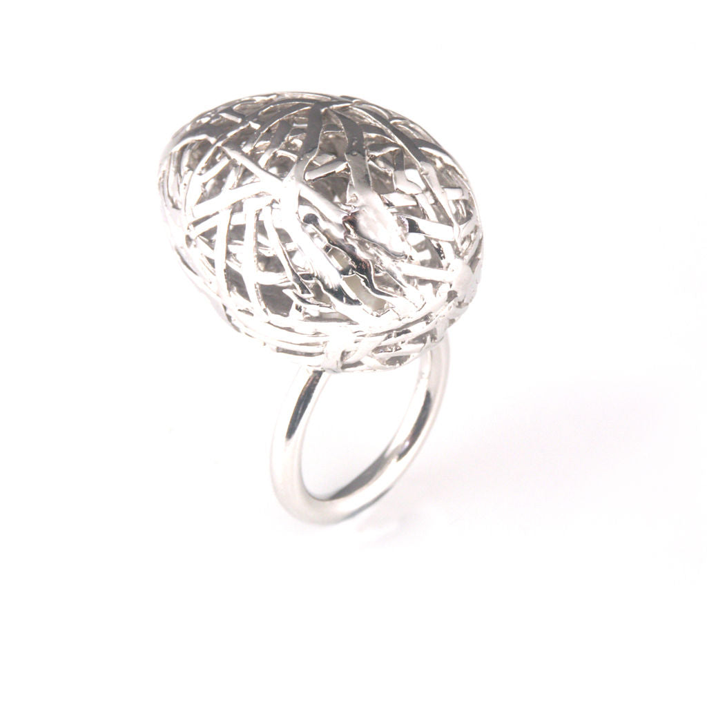 'Best Before' - 3cm silver whole egg ring with pearl inside