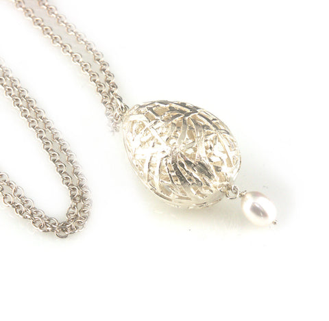 'Best Before' - 3cm silver whole egg pendant with pearl