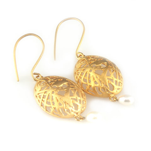'Best Before' - 3cm gold plated silver egg earrings with pearls