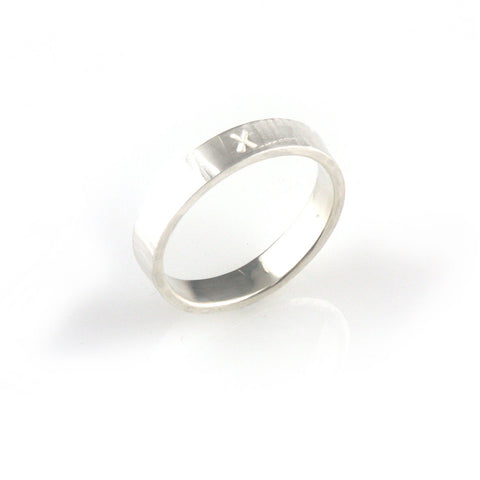'X collection' - silver ring with word 'X'