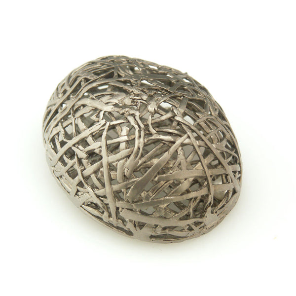 'Best Before' - matt black big egg brooch with pearl inside