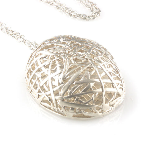 'Best Before' - silver big egg necklace with diamond