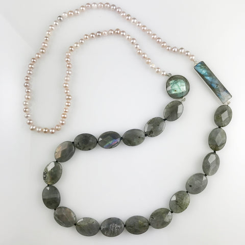 'Pearl Wonder' - Long pink pearls and labradorites necklace