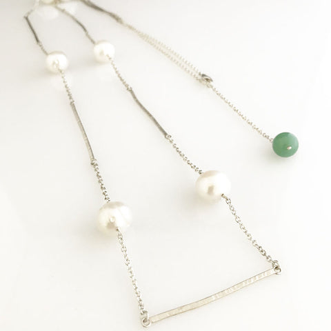 'Pearl Wonder' - long silver bar necklace with pearls and green jade bead