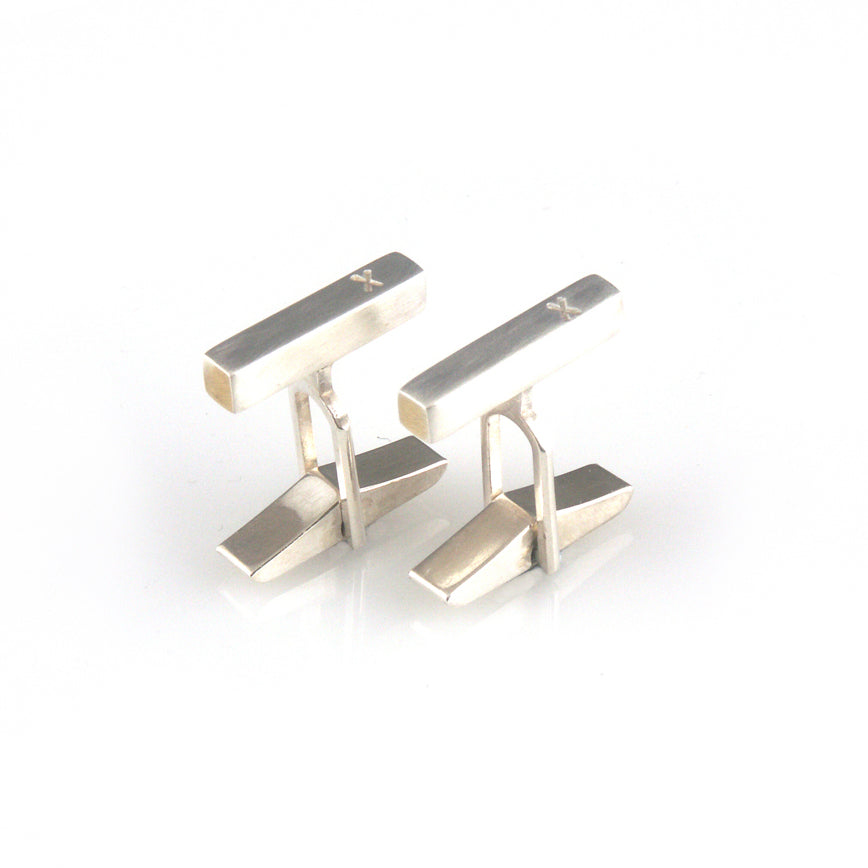 'X collection' - silver cufflinks with words 'X'