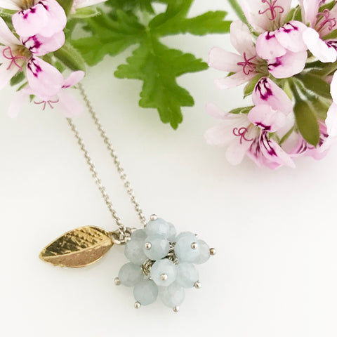 Light blue aquamarine cluster with gold leaf necklace