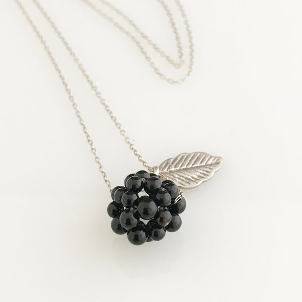 Onyx cluster with silver leaf necklace