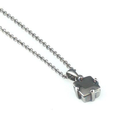 'Diamond Temptation' - black silver princess cut diamond necklace