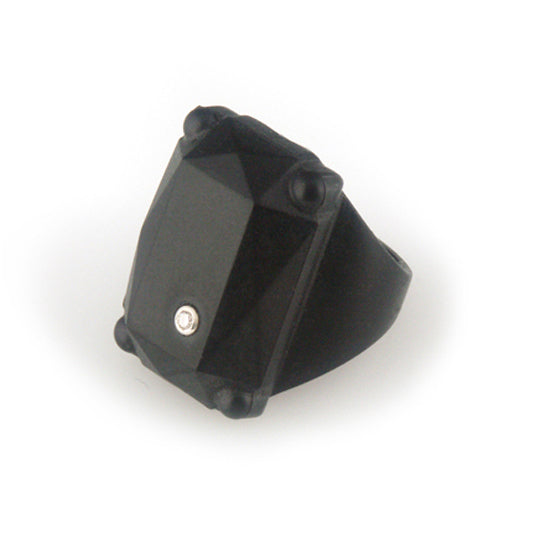 Black rubber ring with diamond