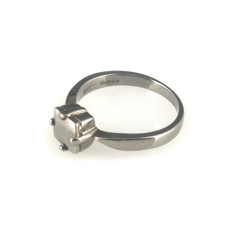 'Diamond Temptation' - black silver princess cut diamond shaped ring