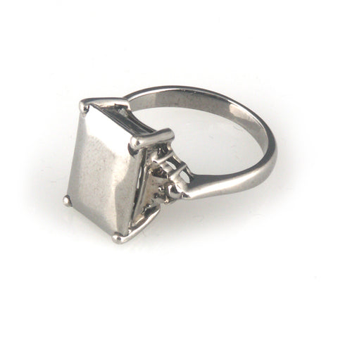 'Diamond Temptation' -  small black emerald cut diamond shaped silver ring