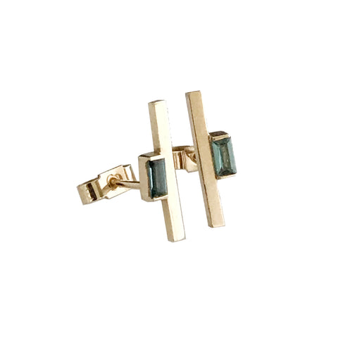 'Gem Amour' - yellow gold blue tourmaline ear studs