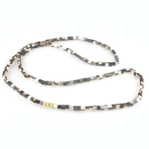 'Pearl Wonder' - brown square mother of pearls necklace