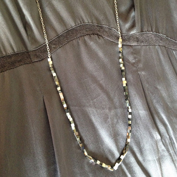 'Pearl Wonder' - silver necklace with brown colour square mother of pearls