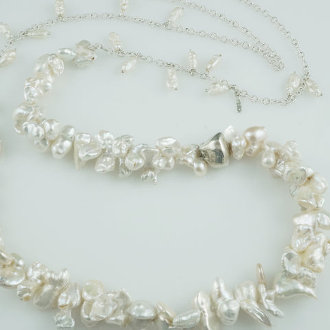 'Pearl Wonder' - Long cluster baroque pearl necklace