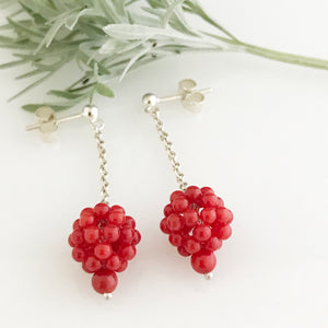 Silver earrings with coral cluster drops