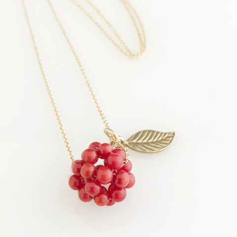 14ct Gold filled chain with coral cluster and gold plated silver leaf