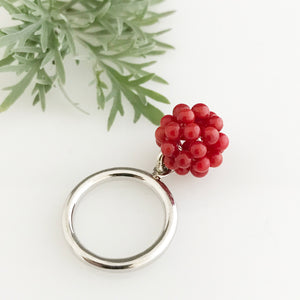 Silver ring with the cluster of coral