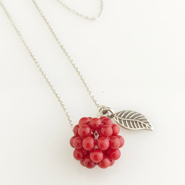 Coral cluster with silver leaf necklace