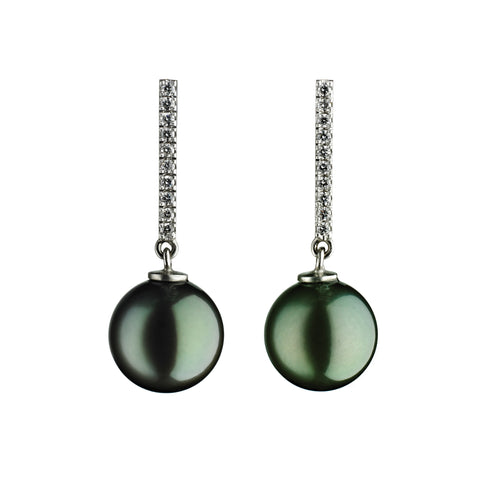 'Pearl Wonder' - white gold earrings with black tahitian pearls and diamonds