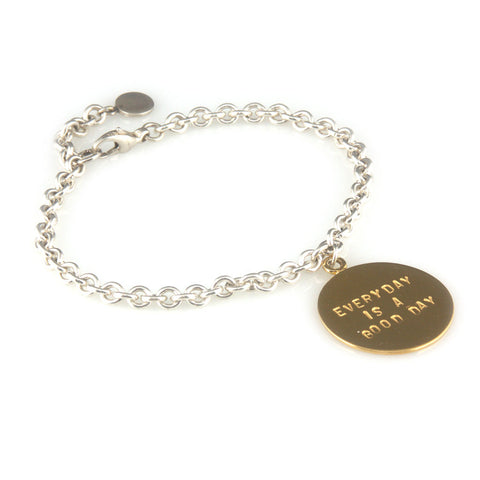 'Every day is a good day' - silver bracelet with gold disc