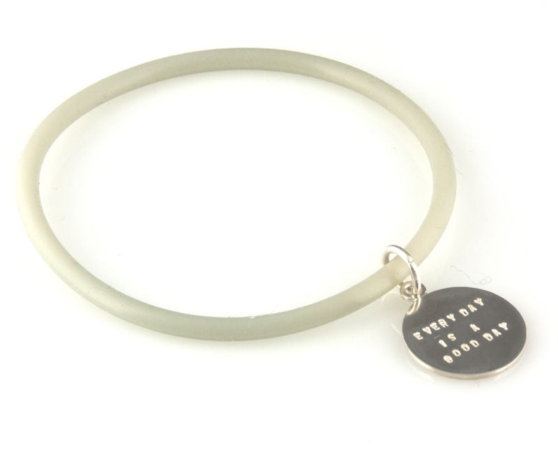 'Every day is a good day' - silicon rubber bangle with silver disc