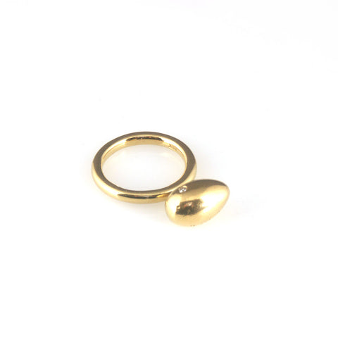 'Best Before' - 1.5cm gold egg ring with diamond