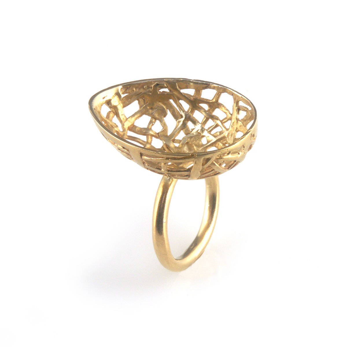 'Best Before' - 3cm gold plated silver egg ring