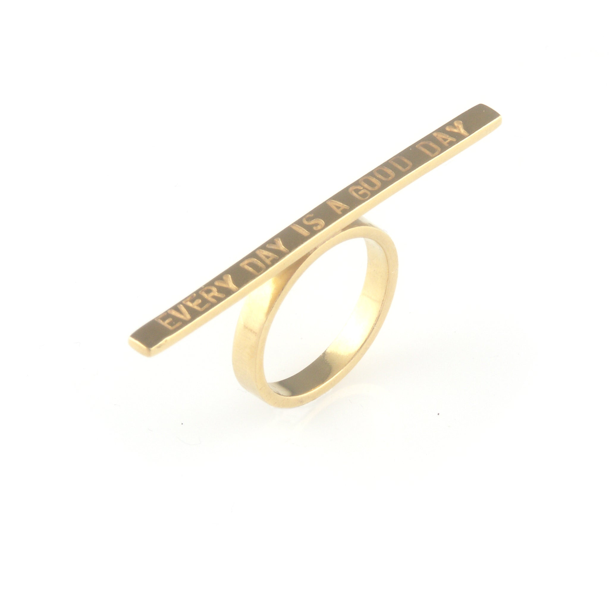 'Every day is a good day' - 3mm silver ring with wording 'every day is a good day'