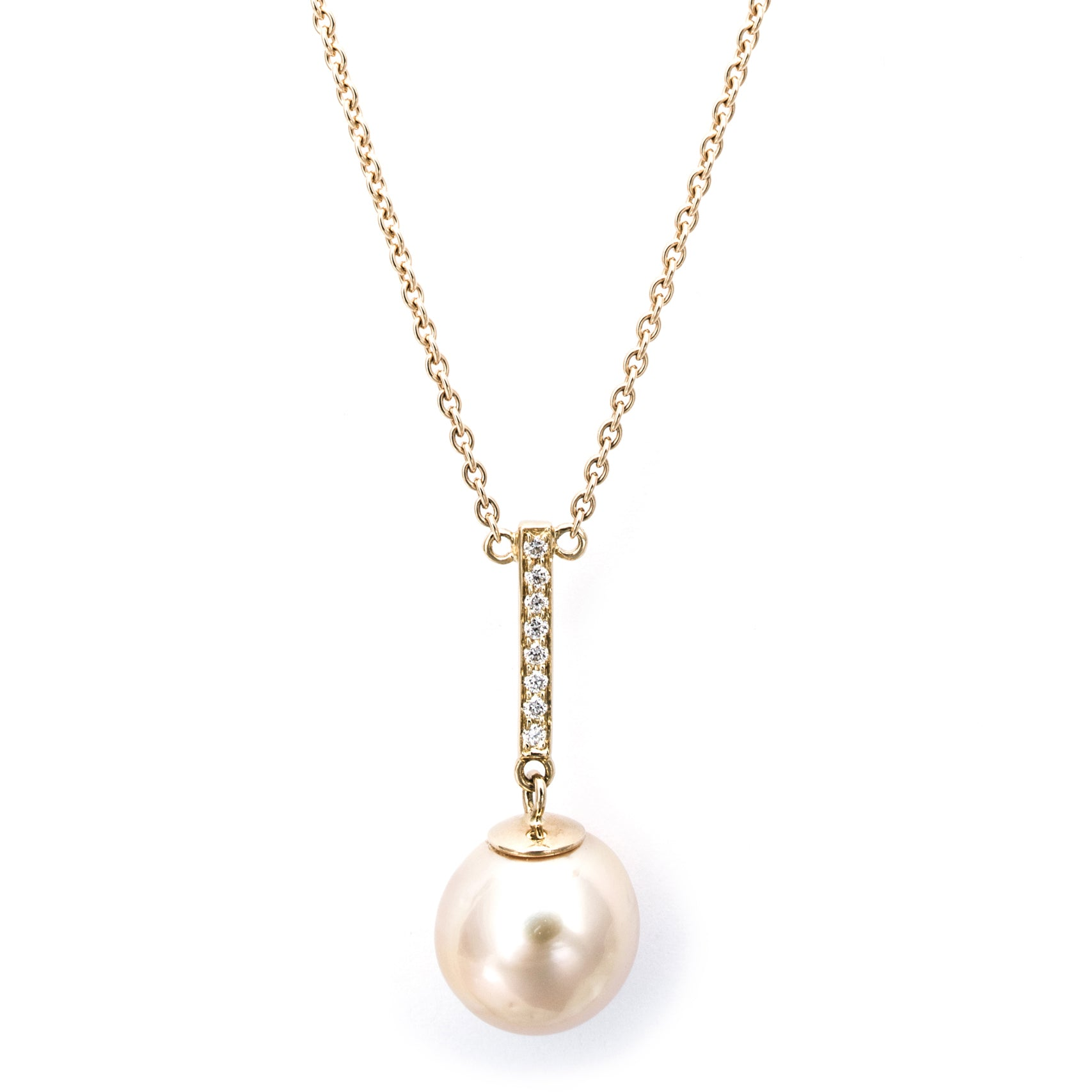 'Pearl Wonder' - Gold necklace with golden pearl and diamonds