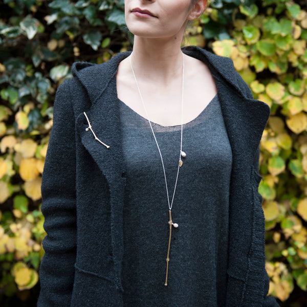 'Wearing Nature' - Golden Twig necklace with pearl
