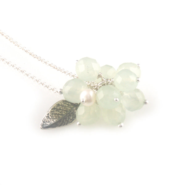 'Wearing Nature' - green quartz cluster with gold leaf necklace
