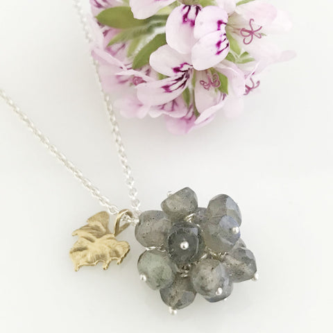 Labradorite cluster with gold leaf necklace