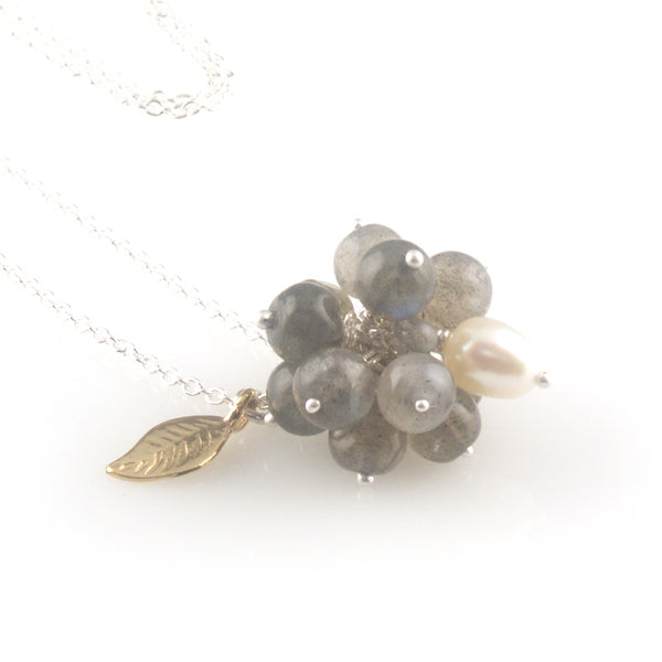'Wearing Nature' - Labradorite cluster with pearl necklace