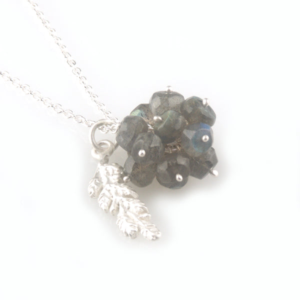 'Wearing Nature' - Labradorite cluster with silver leaf necklace