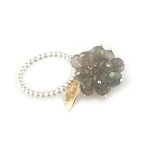 'Wearing Nature' - Labradorite cluster ring with gold leaf