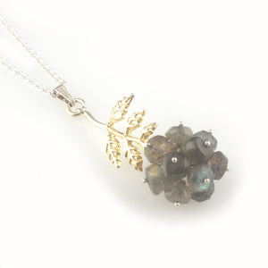 'Wearing Nature' - Labradorite cluster with gold leaf necklace