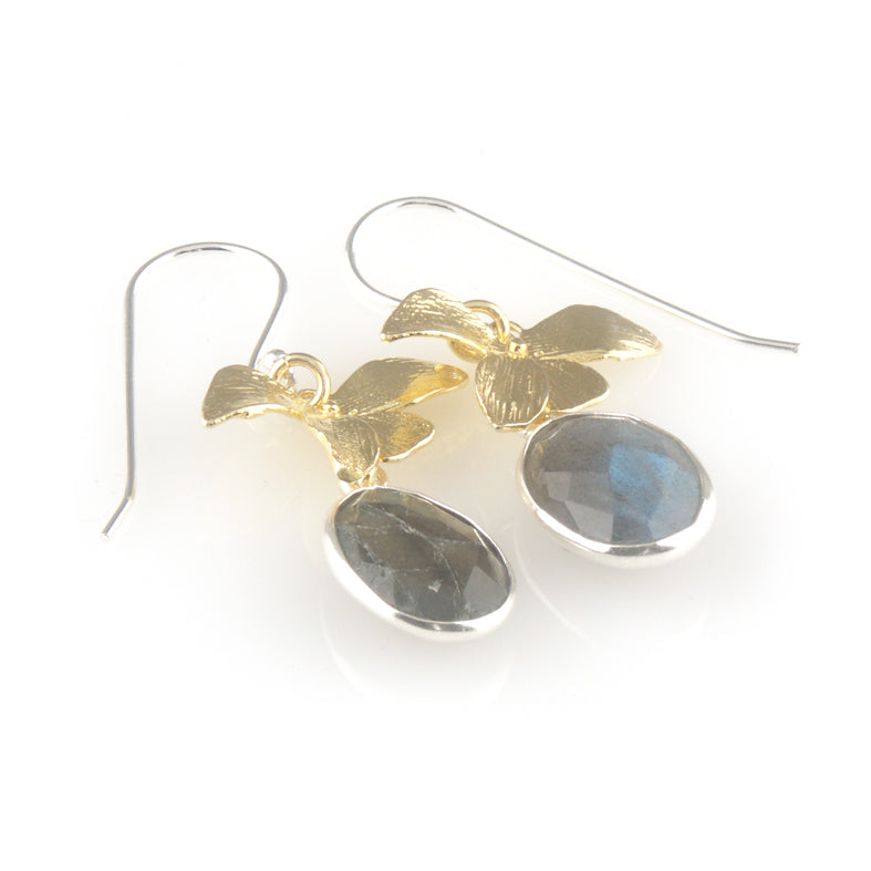 'Wearing Nature' - labradorite earrings with gold leaves