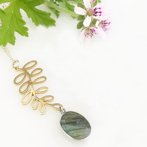 Labradorite necklace with gold plated silver leaf