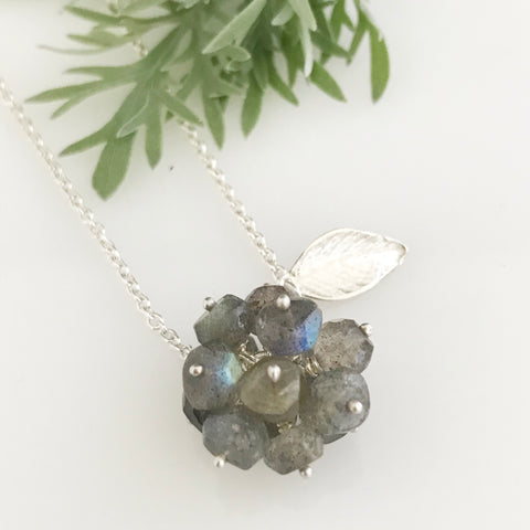 Labradorite cluster with silver leaf necklace