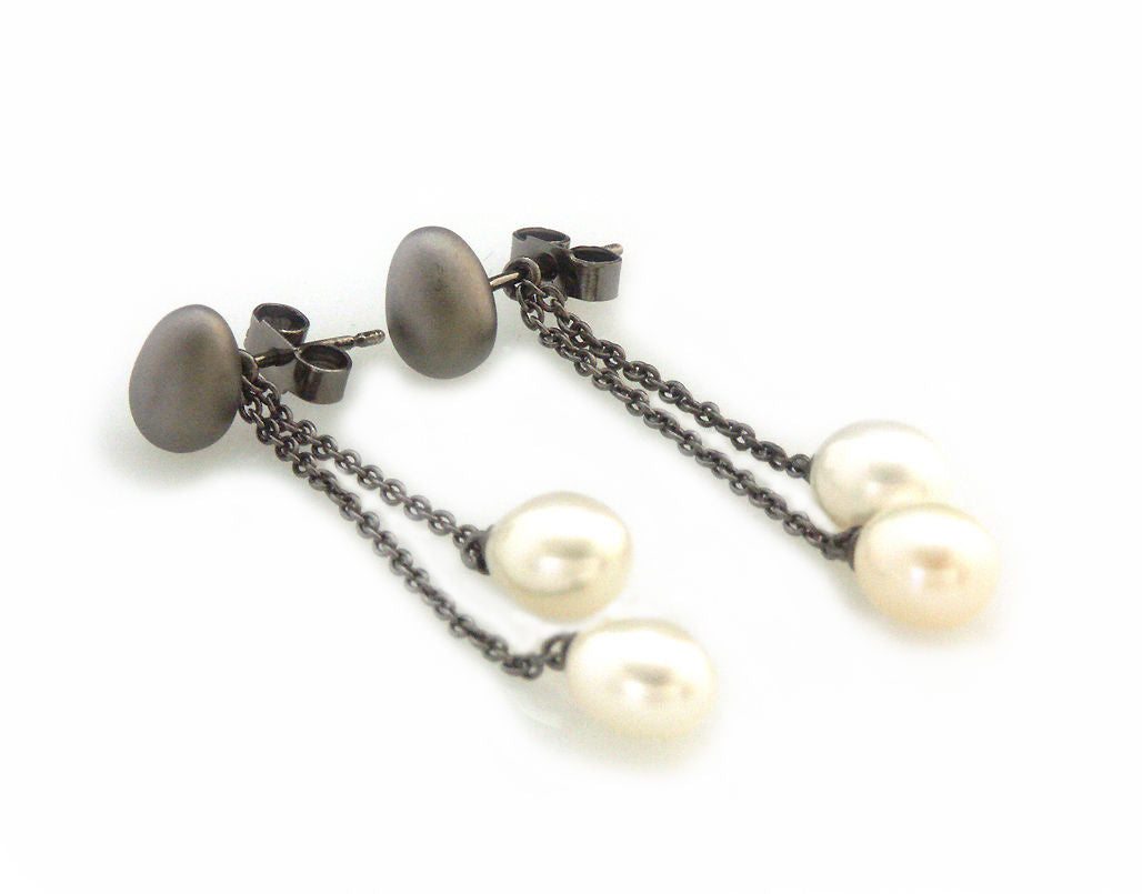 'Best Before' - black silver egg earrings with pearls