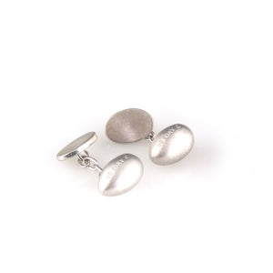 'Best Before' -  1.5cm matt silver egg cufflinks