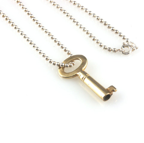 'Key to your heart' - gold plated silver key necklace